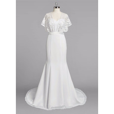 Romantic and Simple Flutter Sleeves Chiffon Wedding Dresses with Lace Bodice