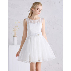 Romantic Illusion Neckline Mini Lace Summer Wedding Dresses with Pleated Skirt