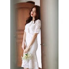 Custom Trumpet Short Sleeves Knee Length Lace Reception Wedding Dress