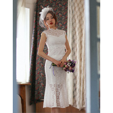 Petite Trumpet Illusion Neckline Tea Length Lace Reception Wedding Dresses