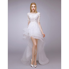 Attractive Beaded Appliques High-Low Tulle Wedding Dresses with Short Sleeves