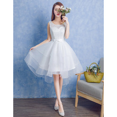Charming A-Line Sleeveless Knee Length Layered Organza Wedding Dresses