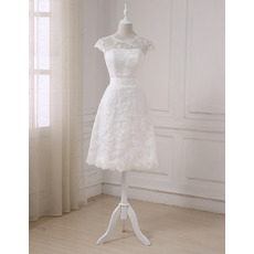 Elegant Cap Sleeves Knee Length Lace Petite Wedding Dress with Sash