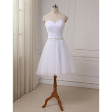 Discount Ruched Bodice Sweetheart Knee Length Tulle Wedding Dresses with Beaded Waist