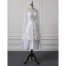 Discount Illusion Neckline Tea Length Lace Satin Wedding Dresses with Long Sleeves