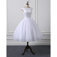 Simple Ball Gown Knee Length White Tulle Wedding Dresses