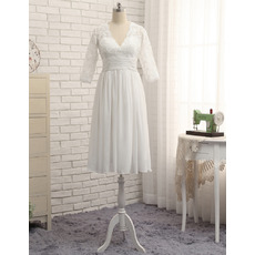 Elegant  V-Neck Knee Length Lace Chiffon  Plus Size Wedding Dress with 3/4 Long Sleeves