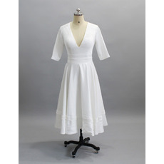 Simple Deep V-Neck Tea Length Satin Wedding Dresses with Half Sleeves