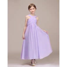 Adorable Ankle Length Chiffon Junior Bridesmaid Dresses with Straps