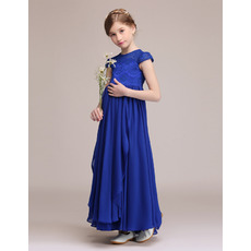 Discount Cap Sleeves Junior Bridesmaid Dresses with Front Ruffles