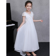 Custom V-Neck Cap Sleeves Ankle Length Chiffon Junior Bridesmaid Dress