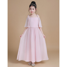 Pretty Off-the-shoulder Chiffon Junior Bridesmaid Dress with Trim Capelet