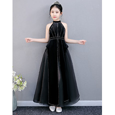 Amazing Beaded Black Little Girls Party Dresses Dresses with Split
