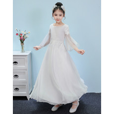 Amazing Appliques Chiffon Junior Bridesmaid Dresses with Long Sleeves