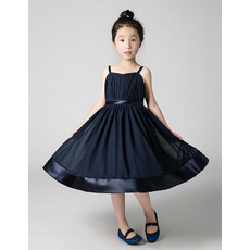 Affordable Spaghetti Straps Ankle Length Chiffon Junior Bridesmaid Dresses