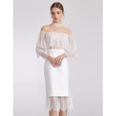 Dreamy Alluring Lace Bodice Knee Length Cocktail/ Holiday Dresses with Illusion Sleeves for women