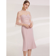 Dreamy Alluring Illusion Neckline Knee Length Cocktail/ Holiday Dresses with Half Tulle Sleeves for women