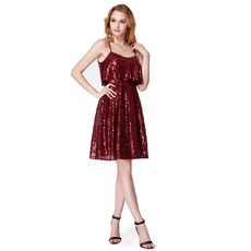 Shimmering Slender Straps Short Sequined Cocktail/ Holiday Dresses for women