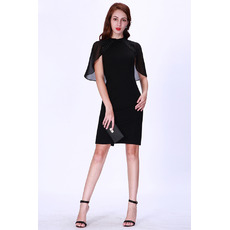 Custom Sheath Short Satin Black Cocktail/ Holiday/ Party Dresses for women