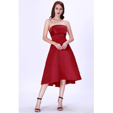 Elegant Simple A-Line Strapless Knee Length Satin Cocktail/ Holiday Dresses for women