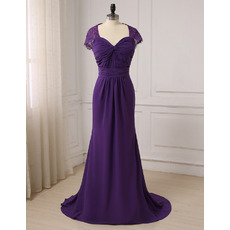 Ultra-feminine Cap Sleeves Sweetheart Full Length Chiffon Evening/ Prom/ Formal Dresses with Open Back