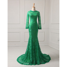 Elegant Simple Long Sleeves Mermaid Full Length Lace Evening Dresses with Godet Hem