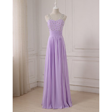 Plunging V-back Floor Length Chiffon Evening/ Prom/ Formal Dresses with Rhinestone Bodice