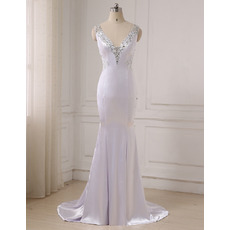 Dramatic Gorgeous Crystal Beading Mermaid V-Neck Full Length Satin Evening Dresses with Plunging Scoop Back