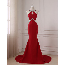 Dramatic Sexy Keyhole Neck Mermaid Floor Length Satin Evening/ Prom/ Formal Dresses with Sexy Exposed Back