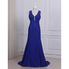 Attractive Beaded V-Neck Sleeveless Floor Length Lace Evening/ Prom/ Formal Dresses with Open Back