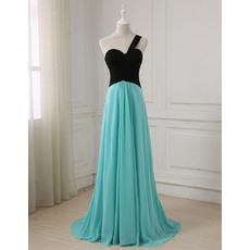 Affordable One Shoulder Full Length Color Block Chiffon Evening/ Prom Dresses with Ruched Bodice