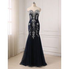 Shimmering Gorgeous Crystal Beading Mermaid Sweetheart Full Length Tulle Navy Blue Evening/ Prom/ Formal Dresses