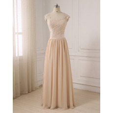 Ethereal Sweetheart Full Length Chiffon Evening/ Prom/ Formal Dresses with Appliques Bodice