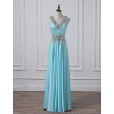Gorgeous Shimmering Crystal Beaded Rhinestone Neckline Full Length Satin Evening/ Prom/ Formal Dresses