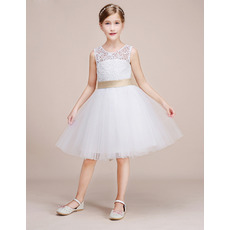 Custom Cute Knee Length Tulle Flower Girl Dresses with Lace Bodice