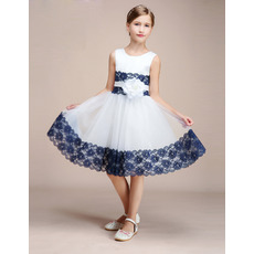 Custom Knee Length Color Block Tulle Flower Girl Dresses with Lace Trim and Hand Made Flower