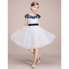 Custom Appliques Scoop Neck Knee Length Color Block Organza Flower Girl Dress