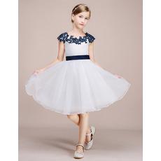 Custom Appliques Scoop Neck Knee Length Color Block Organza Flower Girl Dress
