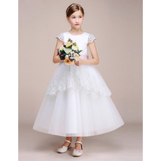 Perfect Ankle-length Lace Cap Sleeves Tulle First Communion Dresses with Layered Draped High-Low Skirt