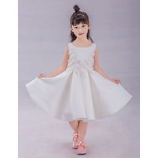 Romantic A-Line Knee Length Satin Flower Girl Dresses with 3D Flowers