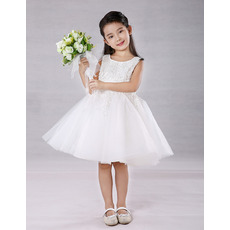 Pretty A-Line Scoop Neck Knee Length Appliques Beaded Tulle Flower Girl Dresses