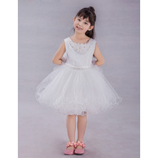 Cute Ball Gown V-back Knee Length Flower Girl Dresses with Wire Edge and 3D-flowers