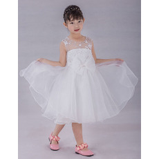 Discount Knee Length Organza Flower Girl/ Communion Dresses with Lace Appliques