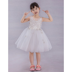 Discount Cute Ball Gown Knee Length Applique Beaded Flower Girl Dresses