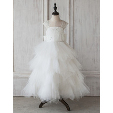 Discount A-Line V-back Full Length Ruffle Skirt Tulle Flower Girl Dresses