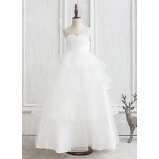 Pretty Ball Gown Full Length Tiered Skirt Organza Flower Girl Dresses