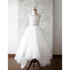 Beautiful Beaded Wide Straps Full Length High-Low Appliques Tulle Flower Girl Dresses