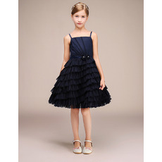 Discount Spaghetti Straps Knee Length Pleated Skirt Flower Girl Dress