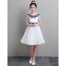 Cute Knee Length Two Tone Flower Girl Dresses with Slight Cap Sleeves