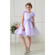Custom A-Line Mini/ Short Lace Flower Girl Dresses with Sashes